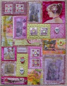 Art quilt in pink & lavender & green. crazy inchies collage buttons