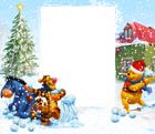 Winnie the Pooh Winter Holiday PNG Kids Frame