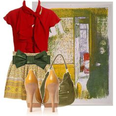 Edouard Vuillard inspired outfit. Love the red blouse and patterned skirt!