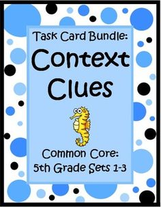 This Context Clues for 5th Grade Task Card Bundle by The Teacher Next Door has 3 sets of Common Core task cards (96 cards) that will help your students practice identifying word meaning using context clues. Each card has a short story with a fifth grade vocabulary word that is underlined and students choose the correct meaning from the three that are listed. Context clues can be tricky, but this type of concentrated practice can help strengthen reading comprehension and vocabulary skills. $