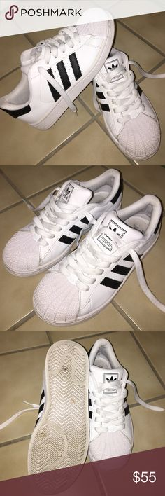 Adidas Superstar Originals Gently worn maybe 8-9 times. Very good used condition! Size 3 in kids fit a women's 5. I still have the original box. Pet and smoke free home! Adidas Shoes Sneakers