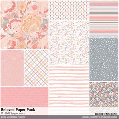Beloved Paper Pack patterned papers in a palette of coral peach and gray #designerdigitals