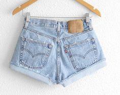 Levis 501 High Waisted Shorts Levi 501 Shorts by 2treasurehunt