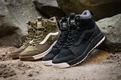 Vans has unveiled a brand new silhouette for the Fall/Winter 2017 season, dubbed the UltraRange Hi MTE, featuring weather-resistant uppers made … Sneakers Vans, Vans Boots, Tenis Vans, Mens Vans Shoes, Nike Shoes, Shoe Boots, Vans Men, Vans Winter Shoes, Winter Boots