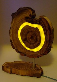 Wooden Yellow LED Lamp, Acaciawood With Clear Epoxy Resin And Yellow Leds,  For Livingroom Or Office, Modern, Natural Design
