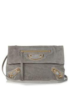 Classic Metallic-Edge suede envelope clutch | Balenciaga | MATCHESFASHION.COM US