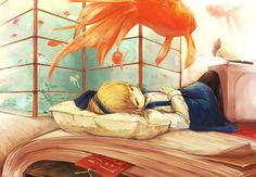 Young Alice and koi.