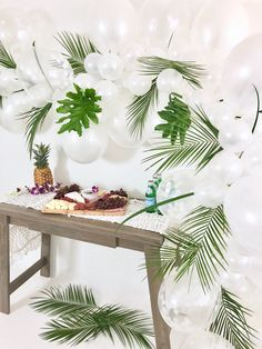 All white balloon garland, tropical greenery and a charcuterie board. Jamaican Party, Tropical Party Decorations, Outdoor Decorations, Luau Party, Birthday Ideas, 25th Birthday, 30th, Birthday Parties, 21st
