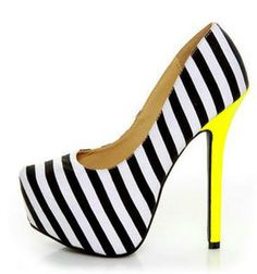 Black and white striped heels with yellow accent