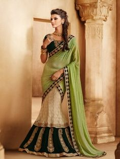 Light Green And Cream Georgette Chiffon Lehenga Saree With Embroidery And Butta Work www.saree.com