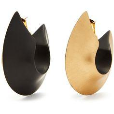 Vanda Jacintho Oversized bi-colour hoop earrings (1.450 RON) ❤ liked on Polyvore featuring jewelry, earrings, gold, oversized earrings, hoop earrings, oversized hoop earrings and oversized jewelry