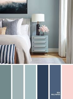 10 Beautiful Color Schemes For Your Bedroom { Sage + Navy Blue Blush Accents } Sage green and navy&; 10 Beautiful Color Schemes For Your Bedroom { Sage + Navy Blue Blush Accents } Sage green and navy&; Bedroom Colour Palette, Bedroom Wall Colors, Bedroom Color Schemes, Sage Color Palette, Interior Colour Schemes, Calming Bedroom Colors, Paint Colours For Bedrooms, Decorating Color Schemes, Bedroom Colour Schemes Blue