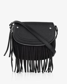 This small and stylish hands-free pick sports a long slim strap so you can wear it across your chest with the fringed bag in front or back. The supple finish and external flap pocket with a slim zipped compartment add allure and storage.