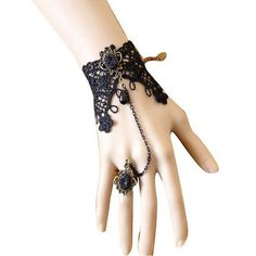 This stunning vampire lace wristband with ring is a fabulous addition to wear for a night out on the town or to add as an accessory to that sexy costume. Add a touch of class to your wardrobe. Please