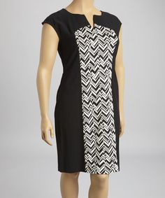 Look what I found on #zulily! Black & White Chevron Cap-Sleeve Shift Dress - Plus by Glamour #zulilyfinds