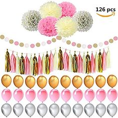 Amazon.com  126Pcs Pink and Gold Party Supplies with Pom poms Flower 2b283c7ad0db