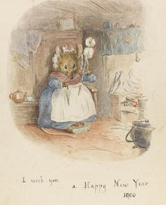 """Beatrix Potter, """"MOUSE HAND-SPINNING BY THE FIRE""""♥    www.beststoriesforchildren.com"""