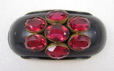 Rare Schiaparelli Pink Rhinestone Black Enamel Pin