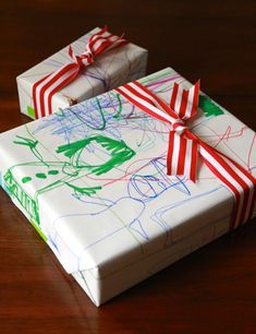 DIY Holiday Gift Wrap: Upcycle Kids Art