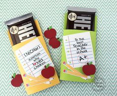 It's Written on the Wall: Teacher Appreciation & Office Staff Gifts -So Many Gift Ideas--Gotta see these! Teacher Christmas Gifts, Teacher Gifts, Teacher Cards, Chocolate Hershey, Hershey Candy, Chocolate Bars, Chocolates, Back To School Gifts For Teachers, School Staff