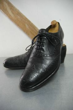 Vintage Bespoke Maxwell Savile Row Muddy Black Leather Brogues UK 7.5