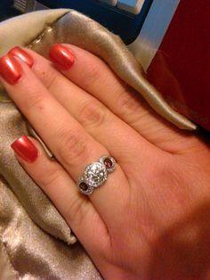 Real Ritani Engagement Rings - Three-stone Ruby and Diamond Halo Ring | #RitaniPinterest