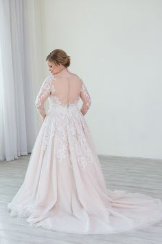 865cb0c5f506 Plus size lace long sleeve wedding dress. Ballgown wedding dress. Sparkly lace  details.