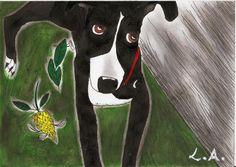 Essa imagem é da cachorrinha que eu adotei, agora ela está no céu. Eu fiz o desenho e meu amigo deu um jeitinho na imagem, enviamos para um concurso de painéis em Los Angeles.