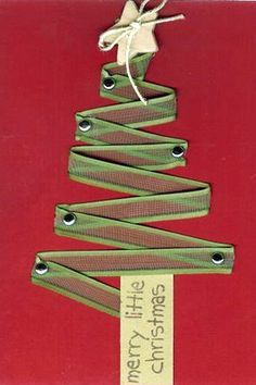 Ribbon Christmas Tree Embellishment ~ so cute for a holiday page. Attach with brads and add a punched star and twine ribbon.