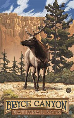 Bryce Canyon National Park, Utah vintage travel poster / ad  Elk