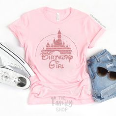 Birthday Girl Disney T-shirt With Rose Gold Glitter Disney Castle– The FMLY shop Disney Birthday Shirt, Disneyland Birthday, Birthday Girl T Shirt, Pink Birthday, Birthday Shirts, Birthday Ideas, Leg Work, June 8, Disney Theme