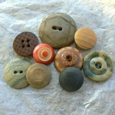 "vintage vegetable ivory buttons. Impressed, carved, stenciled, dyed, imitation fabric examples. Size: bit over 1/2"" to little over 1"""