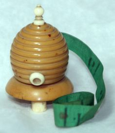 ANTIQUE c1890~~ HAND CARVED Palm Nut Beehive Bee Skep Tape Measure~~Original