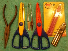 Craft Tools ///  Curtain Rod Threader, Tracing Wheel, Craft Scissors, Pliers by fowlnfelines on Etsy