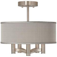 Gray Textured Silk Ava 5-Light Nickel Ceiling Light