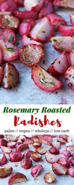 An easy and low carb alternative to potatoes, these Rosemary Roasted Radishes are a perfect paleo, vegan, and approved side dish - Eat the Gains 15 Indulgent Keto Beef Crockpot Recipes Paleo Recipes, Low Carb Recipes, Whole Food Recipes, Cooking Recipes, Radish Recipes, Radish Ideas, Vegan Recipes Beginner, Low Carb Vegetarian Recipes, Pescatarian Recipes