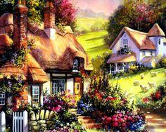 best Perfect cottage in a peaceful landscape images on Fairytale Cottage, Cottage Art, Painted Cottage, Thomas Kinkade, Jim Mitchell, Belle Image Nature, Kinkade Paintings, Mark Ryden, Shenyang