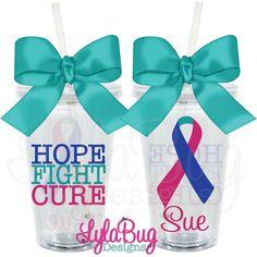 HOPE FIGHT CURE THYROID PERSONALIZED ACRYLIC TUMBLER  LYLABUG DESIGNS THYROID DISEASE AWARENESS, THYROID CANCER AWARENESS