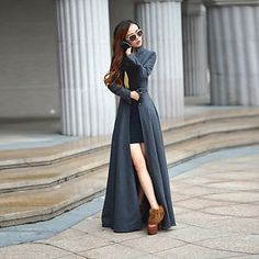 Women's Stand Tweed Maxi Coat