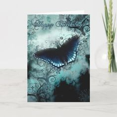 Shop Butterfly Birthday Card - Blue Butterfly Birthday created by moonlake. Butterfly Birthday Cards, Unique Birthday Cards, Butterfly Cards, Blue Butterfly, Happy Birthday, Birth Celebration, Aunt Gifts, Plant Design, Custom Greeting Cards