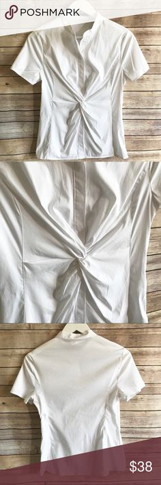 """NWT TAHARI Crisp White Peplum Blouse NWT TAHARI Crisp White Peplum Blouse Small Retail $148 Zip side, button up, tie knot design at the waist creating a lovely Peplum fit. 17"""" bust  24"""" long  Thank you for looking and please check out the rest of my closet. Tahari Tops Blouses"""