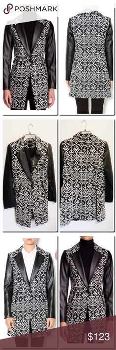 """Geometric Print Jacket with Faux Leather Trim - Notch collar - Long sleeves - Front button closure - 2 front faux pockets - Lined - Allover geometric pattern - Contrast faux leather trim - Approx. 33.5"""" length - Imported Fiber Content Shell 1: 70% polyester, 30% cotton Faux leather: 100% PU Lining: 100% polyester Care Dry clean TTS Jackets & Coats"""