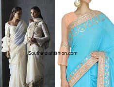 ruffle saree blouse designs