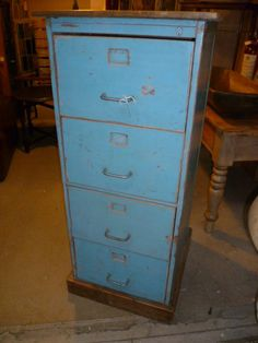 Vintage Painted Wooden Filing Cabinet