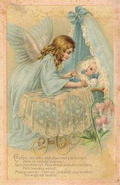 Vintage Angel with Baby Postcard Vintage Greeting Cards, Vintage Christmas Cards, Vintage Postcards, Vintage Images, Guardian Angel Pictures, Guardian Angels, I Believe In Angels, Angels Among Us, Angels In Heaven