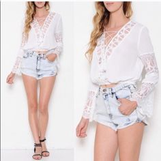 The CHO-LI lace scalloped sleeve top -WHITE SML HPx2A top featuring a surplice front. Lace trim detailing all throughout. Bell, scalloped sleeves. Criss-cross tie front. Elasticized hem. How freaking unique is this beauty? ‼️NO TRADE, PRICE FIRM‼️ ALL SIZES AVAILABLE Bellanblue Tops Blouses
