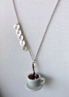 Coffee Cup Saucer Jewelry Necklace Hot Chocolate por LycheeKiss
