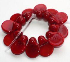 Set of 12 Darkly Red Petals  Donut Handmade от GlassNatalyaDarlin