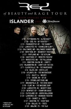 """NEWS: The rock band, RED, has announced a headlining U.S. tour, called the """"of Beauty and Rage Tour,"""" for this spring. They will be touring in support of their upcoming album, of Beauty and Rage. Islander and 3 Years Hollow will be joining the tour, as support. You can check out the dates and details at http://digtb.us/15D2Bqk"""