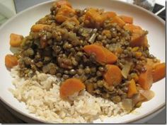 Sweet Potato and Carrot Curried Lentils by Daily Garnish- loved this. great comfort food and lasted a long time